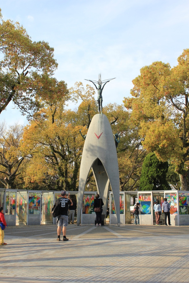 The Children's Peace Monument pays tribute to Sadako, the girl who believed folding 1000 paper cranes would cure her of the disease she sustained after the bombing.